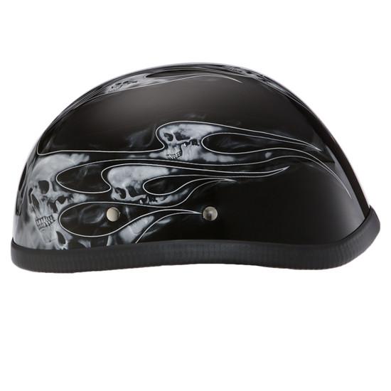 Daytona Novelty Eagle With Skull Flames Silver Half Helmet - Right