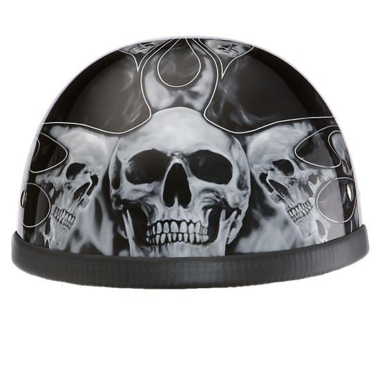 Daytona Novelty Eagle With Skull Flames Silver Half Helmet - Front