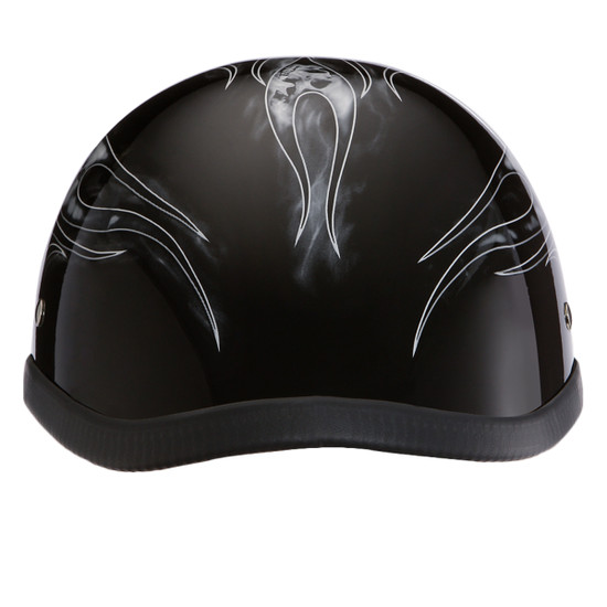 Daytona Novelty Eagle With Skull Flames Silver Half Helmet - Rear