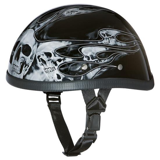 Daytona Novelty Eagle With Skull Flames Silver Half Helmet