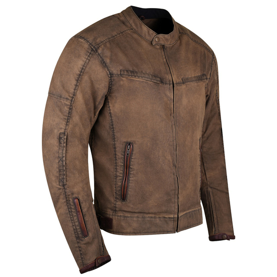 Mens Brown Waxed Cotton Cafe Style Scooter Motorcycle Jacket - Side View