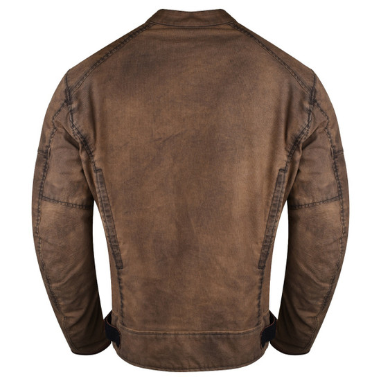 Mens Brown Waxed Cotton Cafe Style Scooter Motorcycle Jacket - Back View