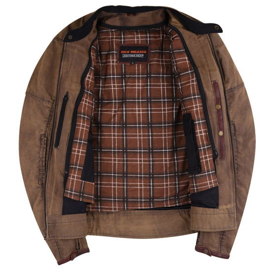 Mens Brown Waxed Cotton Cafe Style Scooter Motorcycle Jacket - Open View