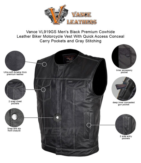 Vance VL919GS Men's Black Premium Cowhide Leather Biker Motorcycle Vest With Quick Access Conceal Carry Pockets and Gray Stitching - Infographics