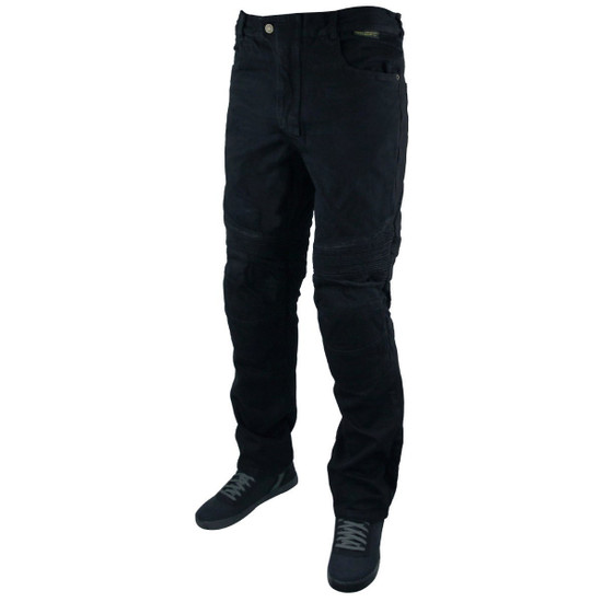 Mens Denim Motorcycle Pants with CE Armor and Kevlar-Black