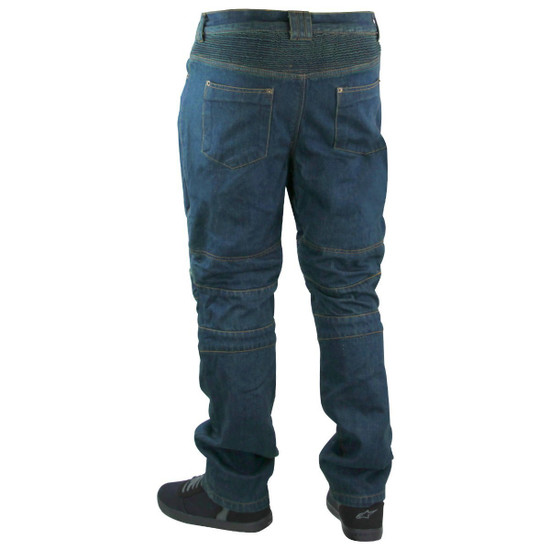 Mens Denim Motorcycle Pants with CE Armor and Kevlar-Back-View