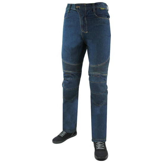 Mens Denim Motorcycle Pants with CE Armor and Kevlar-Blue