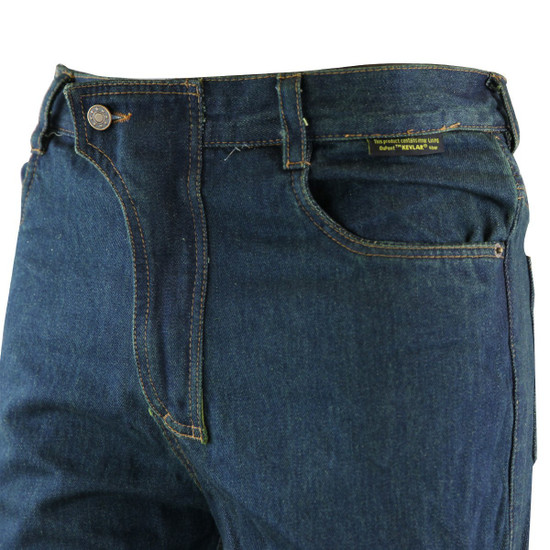 Mens Denim Motorcycle Pants with CE Armor and Kevlar-Detail