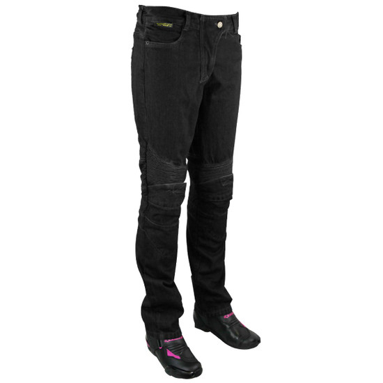 Womens Denim Motorcycle Pants with CE Armor and Kevlar-Black