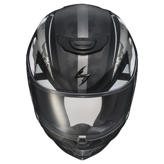 Scorpion EXO-R420 Distiller Helmet - Black/Silver Top View