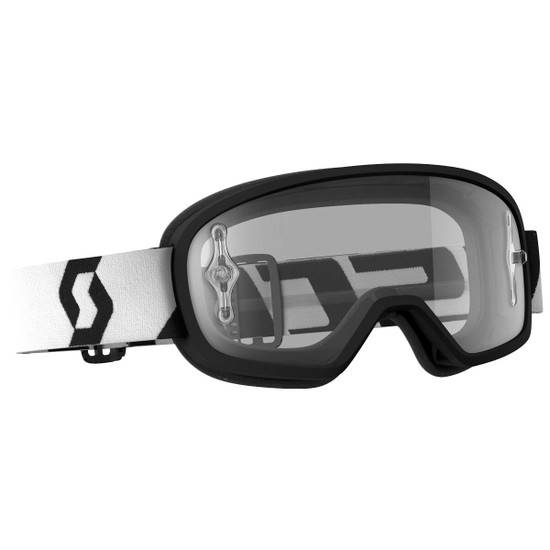 Scott Youth Buzz Pro Clear Lens Motorcycle Goggles - Black/White