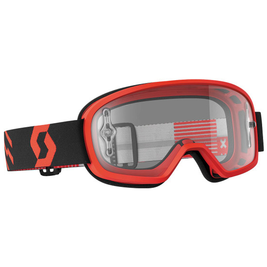 Scott Youth Buzz Pro Clear Lens Motorcycle Goggles - Red/Black