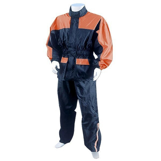 Thunder Under RS5031 Mens and Womens Two Piece Rainsuit Motorcycle Rain Gear - Orange