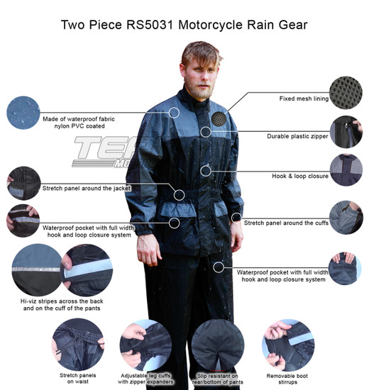 Thunder Under RS5031 Mens and Womens Two Piece Rainsuit Motorcycle Rain Gear - Infographics