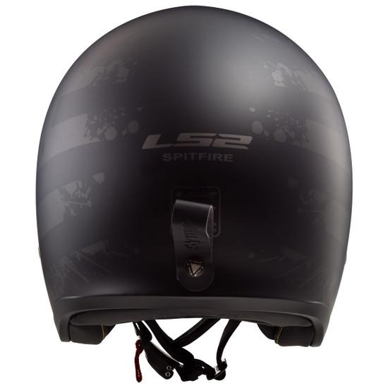 LS2 Spitfire Black Flag Helmet - Back View