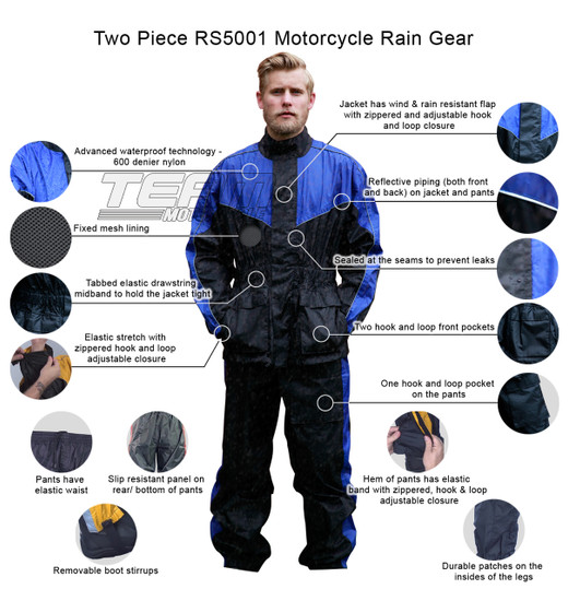 Two Piece RS5001 Motorcycle Rain Gear - Infographics