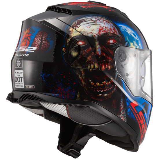 LS2 Assault I Heart Brains Glow In The Dark Helmet - Rear View