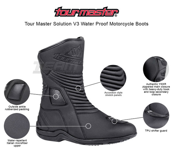 Tour Master Solution V3 Water Proof Motorcycle Boots - Infographics