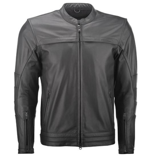 Highway 21 Primer Leather Motorcycle Jacket - Black