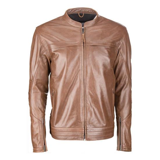Highway 21 Primer Leather Motorcycle Jacket - Brown
