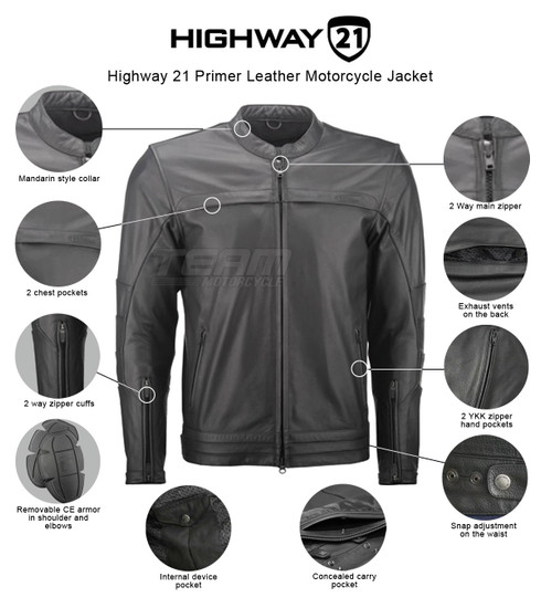 Highway 21 Primer Leather Motorcycle Jacket - Infographics