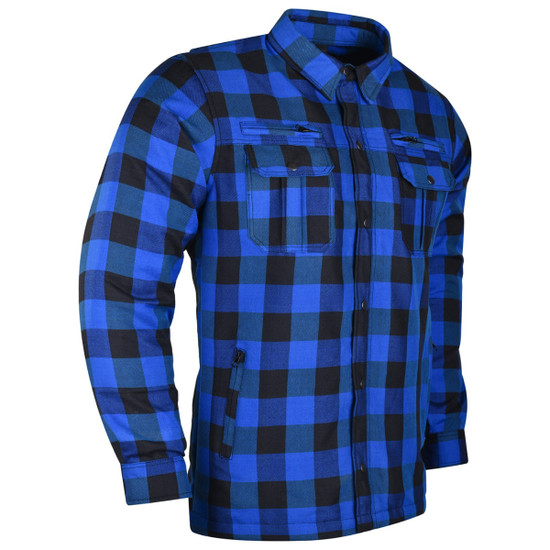 Vance US Made Kevlar Waterproof Zippers and Optional CE Armor Riding Shirt - Black-Blue - SIde View