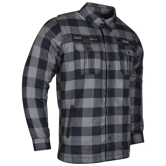 Vance US Made Kevlar Waterproof Zippers and Optional CE Armor Riding Shirt - Grey - side