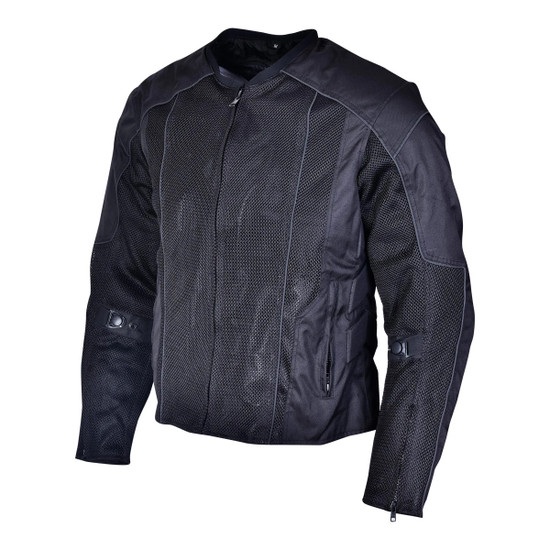 Advanced Vance VL1627 3-Season Mesh/Textile CE Armor Motorcycle Jacket - Black