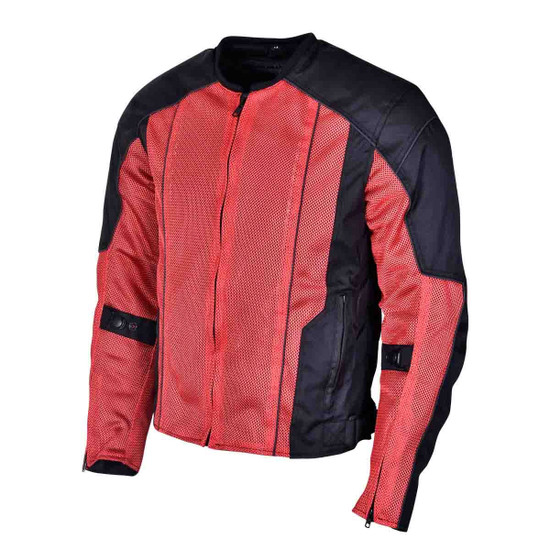 Advanced Vance VL1627 3-Season Mesh/Textile CE Armor Motorcycle Jacket - Red/Black