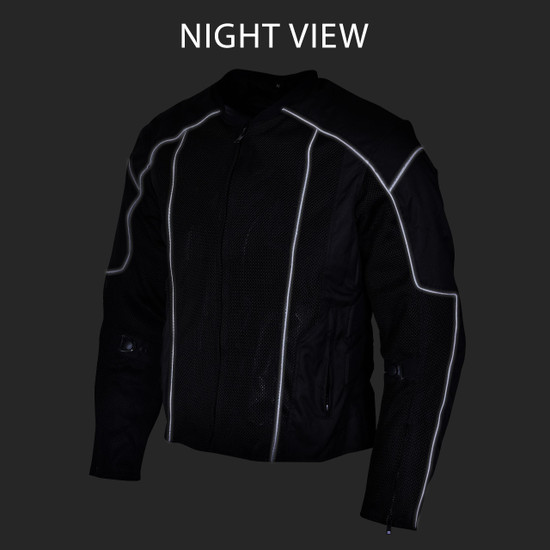 Advanced Vance VL1627 3-Season Mesh/Textile CE Armor Motorcycle Jacket - Night View