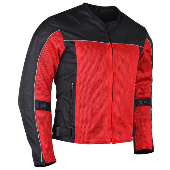 Advanced Vance VL1626 'Velocity' Waterproof 3-Season Mesh/Textile CE Armor Motorcycle Jacket - Red/bBlack