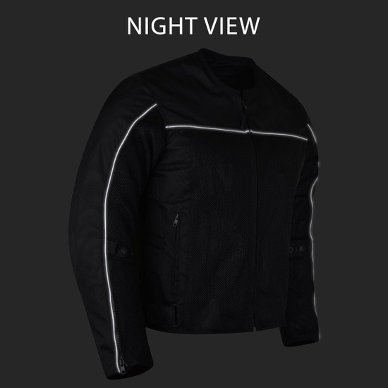 Advanced Vance VL1626 'Velocity' 3-Season Mesh/Textile CE Armor Motorcycle Jacket - Night View