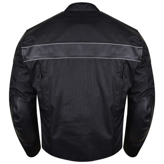 Vance VL1518 Mens Textile Motorcycle Jacket Motorbike Biker Riding Jacket Breathable with CE Armor - Back View