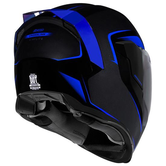 Icon Airflite Crosslink Helmet - Blue Rear View