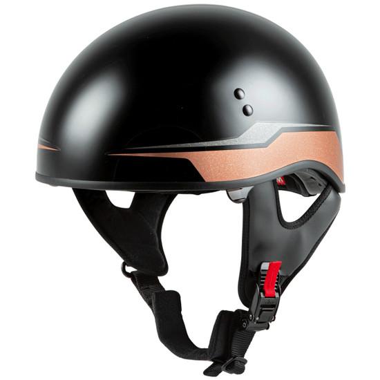 GMax HH 65 Source Naked Half Helmet-Black/Brown