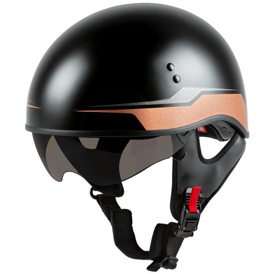 GMax HH 65 Source Naked Half Helmet-Black/Brown-Dark Smoke-Shield