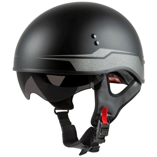 GMax HH 65 Source Naked Half Helmet-Black/Silver-Dark Smoke-Shield