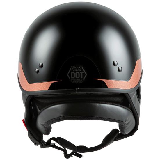 GMax HH 65 Source Naked Half Helmet-Black/Brown-Rear-View