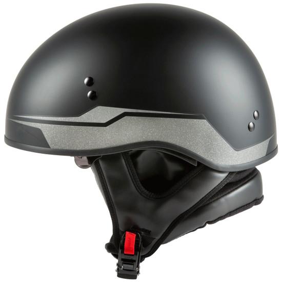GMax HH 65 Source Naked Half Helmet-Black/Silver-side-View