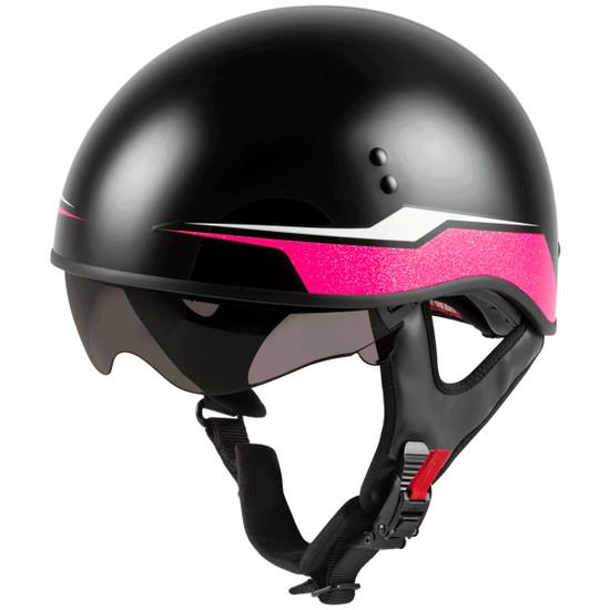 GMax Women's HH 65 Source Naked Half Helmet-Dark Smoke-Shield