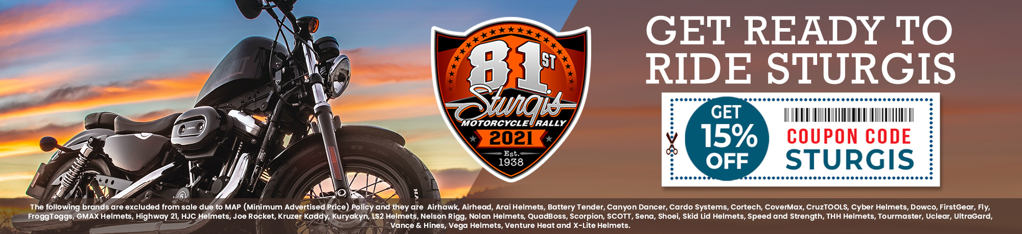 Get Ready To Ride Sturgis - 15% Off - Coupon Code: STURGIS