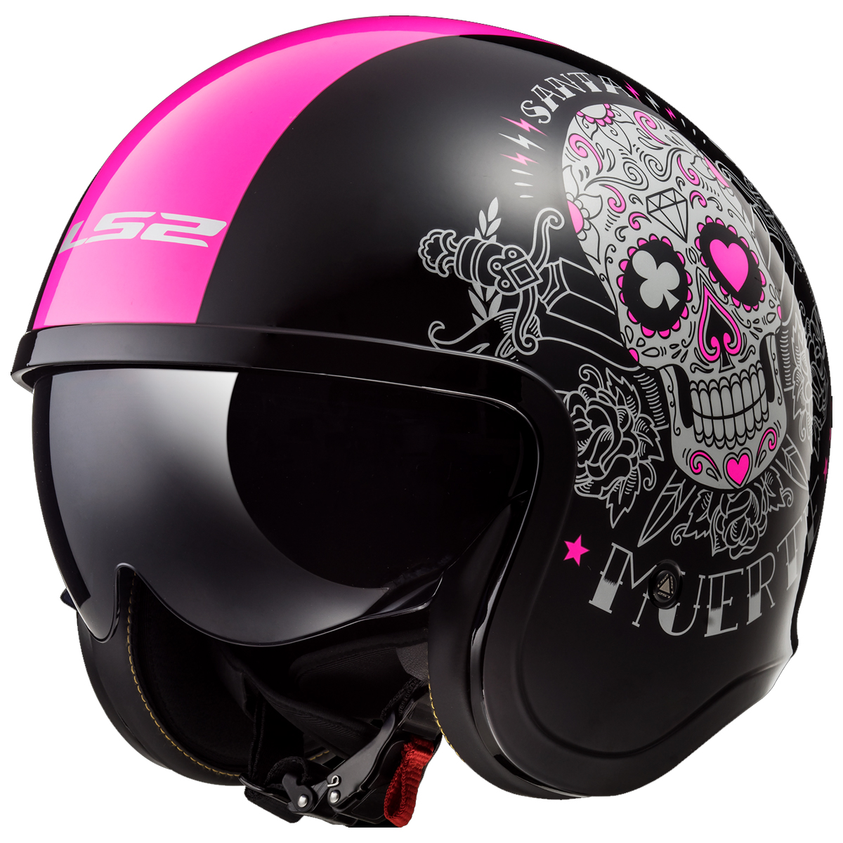 LS2 Spitfire Bomb Rider Motorcycle Helmet Open Face Scooter Drop Down Sunvisor