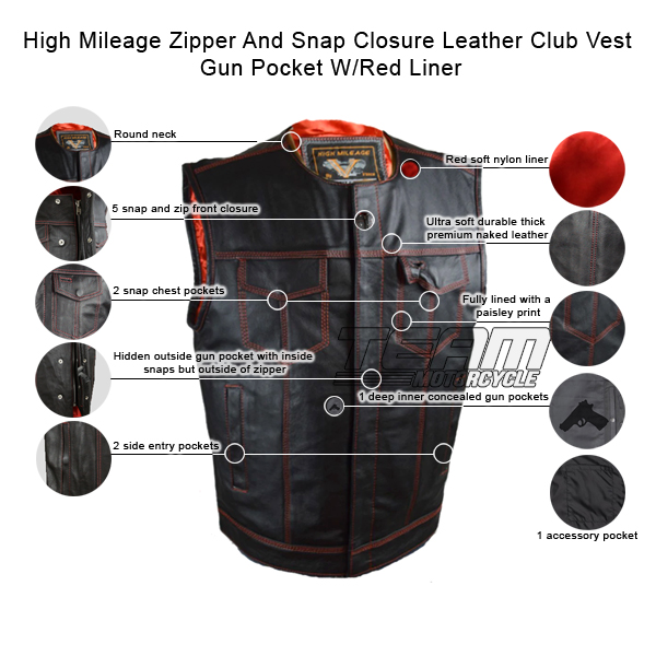 Mens SOA Black Denim Side Lace Club Cut Vest Snap// Zip Closure Gun Pocket