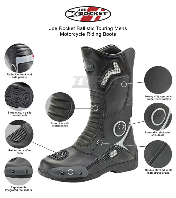 White//Black, Size 13 Joe Rocket Atomic Mens Motorcycle Riding Boots//Shoes