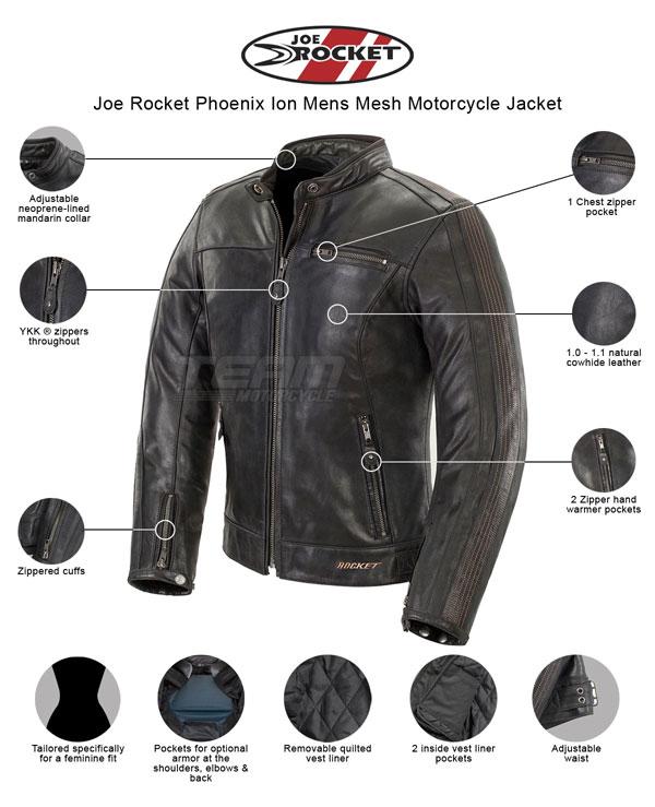 Black//White, X-Large Joe Rocket Vintage Rocket Mens Leather Motorcycle Jacket