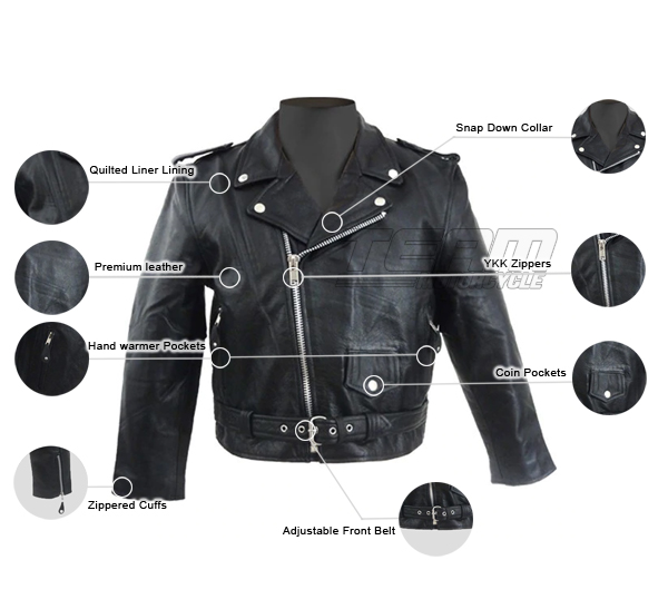 Skintan Childrens Kids Leather Motorcycle Biker Jacket Black