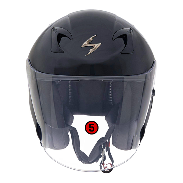 scorpion helmet Anti-turbulence, extended face shield with locking pin