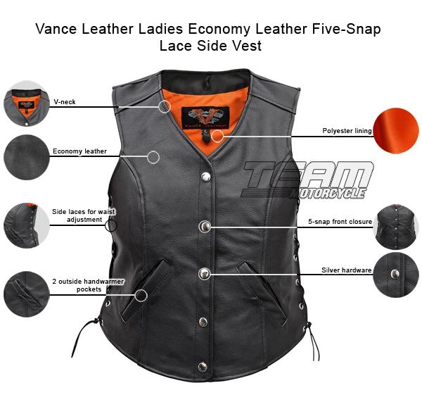 vance-leather-ladies-economy-leather-five-snap-lace-side-vest-description-infographics.jpg