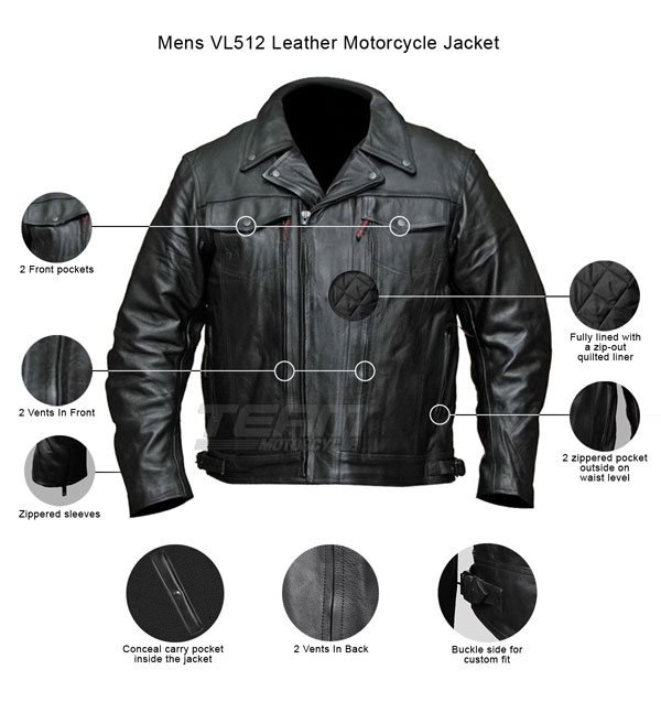 Mens Motorcycle Cowhide Leather Black Full Sleeves Poly Liner Shirt Black XL