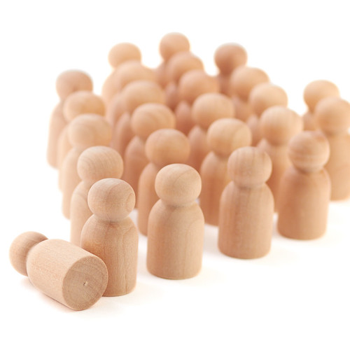 """50 Little Wooden People Peg Doll - Baby 1-1/8"""" tall"""